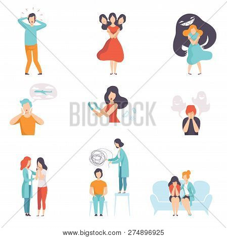 People Suffering From Mental Disorders Set, Psychotherapists Treating Patients On Behavioral Or Ment