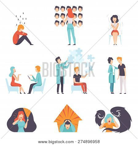 People Suffering From Mental Disorders Set, Psychotherapists Treating Patients, Mental Health Proble