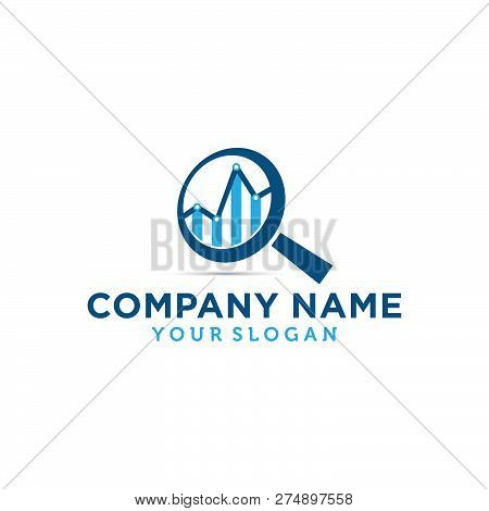 Business Abstract Logo Symbol. Statistics With Magnifier Search Icon Logo Concept Illustration. Vert