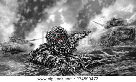 Half Zombie Soldier Crawls On Battlefield. Illustration In Horror Genre. Black And White Background.