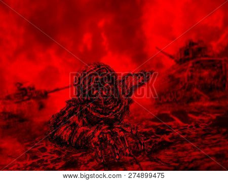 Half Zombie Soldier Crawls On Battlefield. Illustration In Horror Genre. Red Color Background.