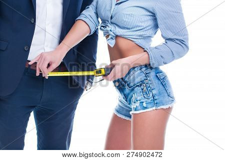 Sexy Woman Measuring Penis Size By Tape Measure, Isolated On White Background