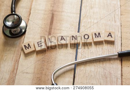Medical and health care words writing typography lettering concept, Cancer melanoma poster
