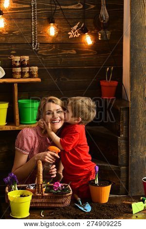 Mother Concept. Little Child Kiss Mother Planting Flowers. Son Kiss Mother In Garden Shed. I Love My