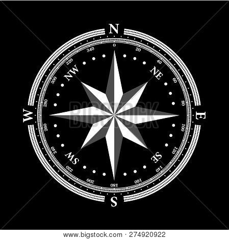 Vintage Compass Navigation Dial On Black Background. With Directions North, North-west, North-east,