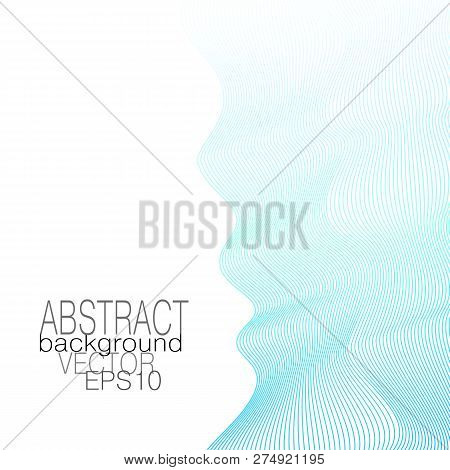 Blue, Aquamarine Waves. Vertical Squiggle Lines. Colorful Ribbon On A White Background. Vector Abstr