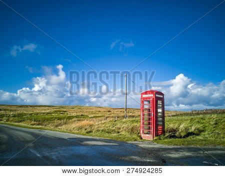 Traditional Red Telephone Box, Scotland, United Kingdom