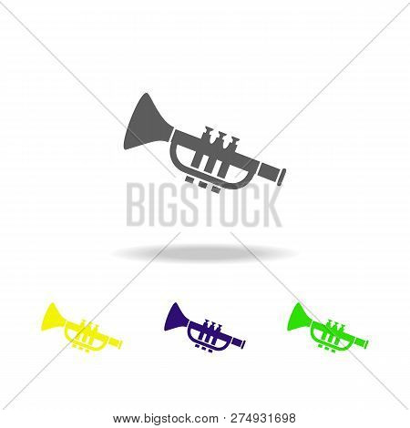 Toy Trombone Colored Icons. Element Of Toys. Can Be Used For Web, Logo, Mobile App, Ui, Ux