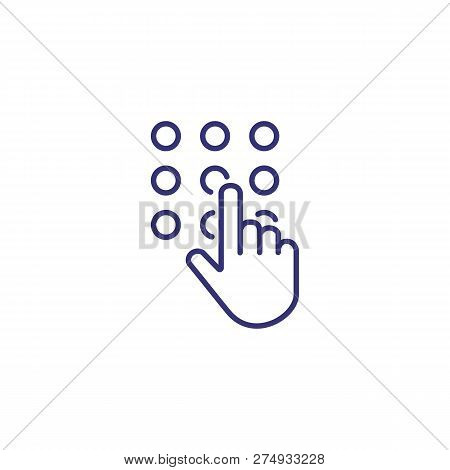 Code Lock Line Icon. Hand Touching Keypad On White Background. Security Concept. Vector Illustration