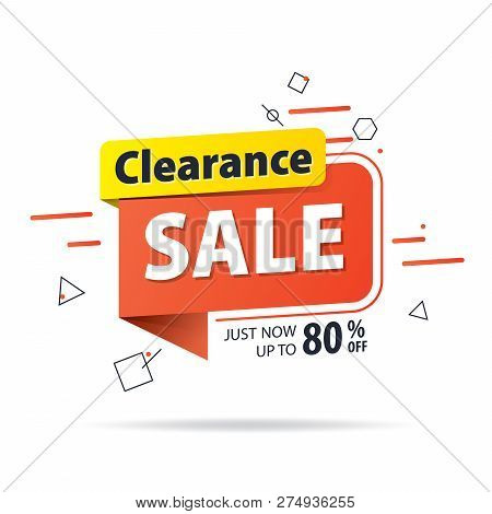 Yellow Orange Tag Clearance Sale 80 Percent Off Promotion Website Banner Heading Design On Graphic W
