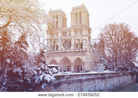 Notre-Dame Cathedral after snowfall in Paris, France poster