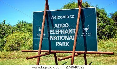 Sign Of Addo Elephant National Park. Greeting Billboard. African Wildlife. Sweet Memories Of Travel