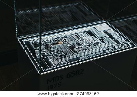 Prague, Czech Republic - August 28, 2018: Mos 6502 Microprocessor On Display Inside Apple Museum In