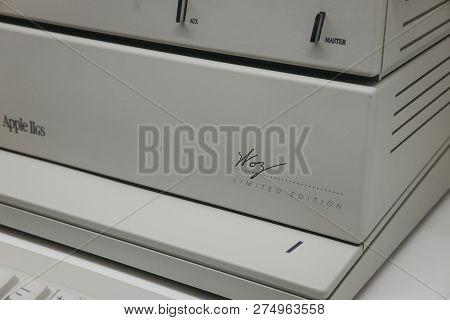 Prague, Czech Republic - August 28, 2018: Macintosh Apple Iigs Computer Signed By Steve Wozniak Insi