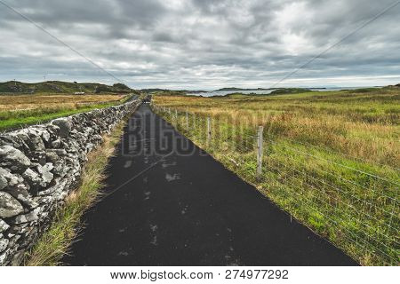 Asphalt road along the grass fields to the ocean. Northern Ireland. Stunning countryside landscape. Black tar paved driveway leading into the distance among the green meadows.