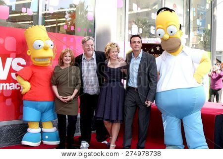 LOS ANGELES - FEB 14: Bart, Nancy Cartwright, Matt Groening, Yeardley Smith, Hank Azaria, Homer at the Matt Groening Star Ceremony on the Hollywood Walk of Fame on February 14, 2012 in Los Angeles, CA