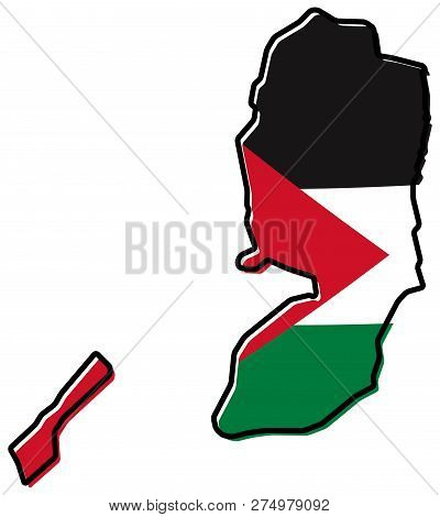 Simplified Map Of Palestine (west Bank And Gaza Strip) Outline, With Slightly Bent Flag Under It.