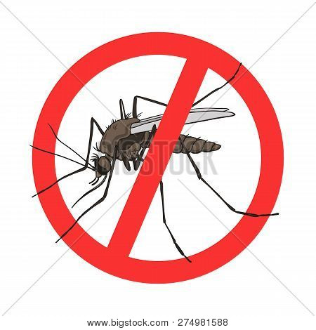 Stop Mosquito Sign, Vector Image In A Red Crossed Out Circle. Mosquito Warning, Prohibited Sign, No