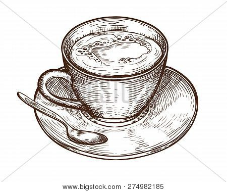 Hand Drawn Cup (mug) Of Hot Drink (coffee, Tea Etc). Cup Isolated On White Background. Tea Cup, Coff