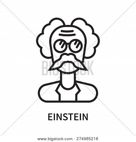 Einstein icon isolated on white background. Einstein icon simple sign. Einstein icon trendy and modern symbol for graphic and web design. Einstein icon flat vector illustration for logo, web, app, UI. poster