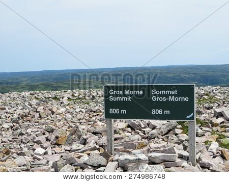The Sign At The Summit Of Gros Morne Mountain When Hikers Reach The Summit.  The Summit Is Covered I