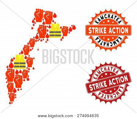 Strike Action Collage Of Revolting Map Of Kamchatka Peninsula, Grunge And Clean Stamps. Map Of Kamch