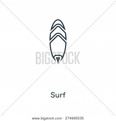 Surf Icon In Trendy Design Style. Surf Icon Isolated On White Background. Surf Vector Icon Simple An