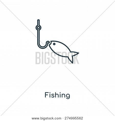 Fishing Icon In Trendy Design Style. Fishing Icon Isolated On White Background. Fishing Vector Icon