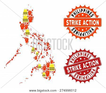 Strike Action Collage Of Revolting Map Of Philippines, Grunge And Clean Seals. Map Of Philippines Co