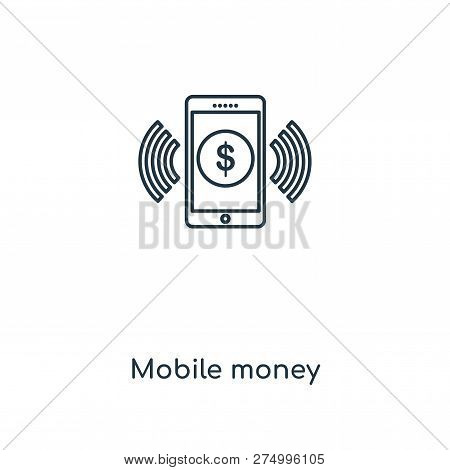 Mobile Money Icon In Trendy Design Style. Mobile Money Icon Isolated On White Background. Mobile Mon