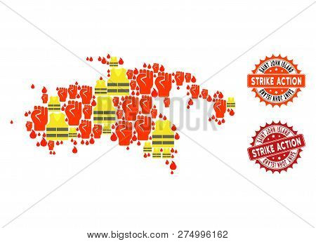 Strike Action Collage Of Revolting Map Of Saint John Island, Grunge And Clean Stamps. Map Of Saint J
