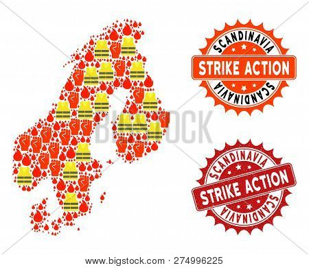 Strike Action Collage Of Revolting Map Of Scandinavia, Grunge And Clean Seal Stamps. Map Of Scandina