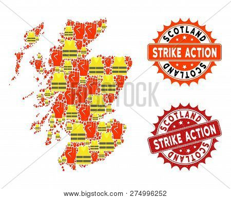Strike Action Composition Of Revolting Map Of Scotland, Grunge And Clean Seals. Map Of Scotland Coll