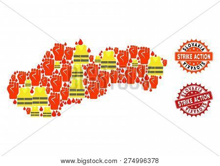 Strike Action Collage Of Revolting Map Of Slovakia, Grunge And Clean Stamps. Map Of Slovakia Collage