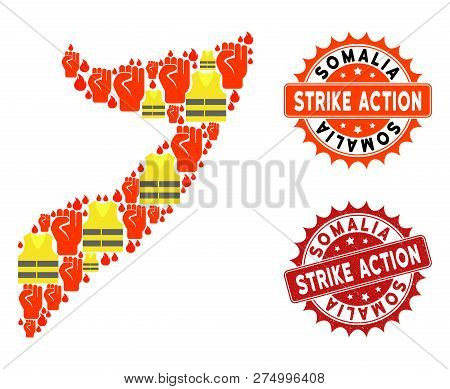 Strike Action Combination Of Revolting Map Of Somalia, Grunge And Clean Seals. Map Of Somalia Collag