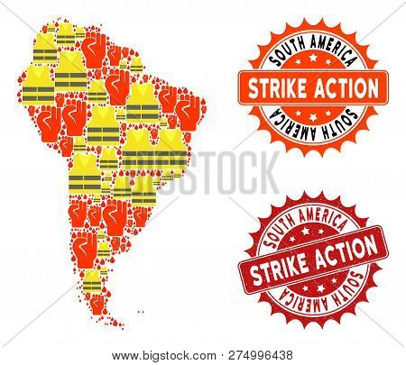 Strike Action Collage Of Revolting Map Of South America, Grunge And Clean Seal Stamps. Map Of South