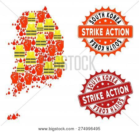 Strike Action Collage Of Revolting Map Of South Korea, Grunge And Clean Stamps. Map Of South Korea C