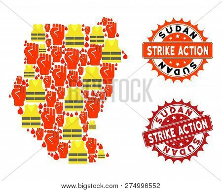 Strike Action Collage Of Revolting Map Of Sudan, Grunge And Clean Seals. Map Of Sudan Collage Formed