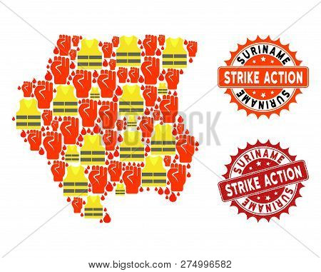 Strike Action Collage Of Revolting Map Of Suriname, Grunge And Clean Stamps. Map Of Suriname Collage