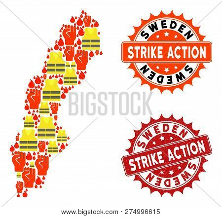 Strike Action Collage Of Revolting Map Of Sweden, Grunge And Clean Stamps. Map Of Sweden Collage For