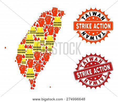 Strike Action Collage Of Revolting Map Of Taiwan, Grunge And Clean Seals. Map Of Taiwan Collage Desi