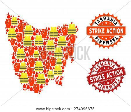 Strike Action Collage Of Revolting Map Of Tasmania Island, Grunge And Clean Seal Stamps. Map Of Tasm