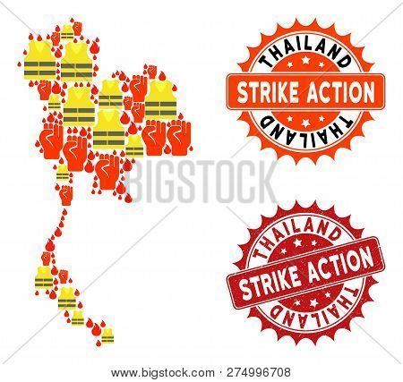 Strike Action Collage Of Revolting Map Of Thailand, Grunge And Clean Seals. Map Of Thailand Collage