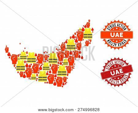 Strike Action Collage Of Revolting Map Of United Arab Emirates, Grunge And Clean Stamps. Map Of Unit