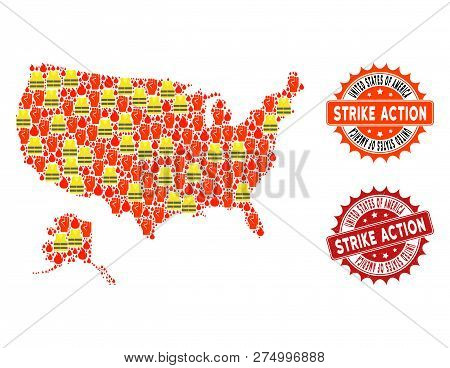 Strike Action Composition Of Revolting Map Of Usa And Alaska, Grunge And Clean Seals. Map Of Usa And