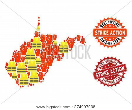 Strike Action Collage Of Revolting Map Of West Virginia State, Grunge And Clean Seals. Map Of West V