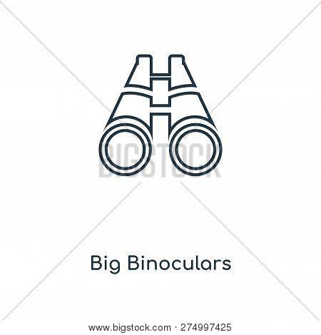 Big Binoculars Icon In Trendy Design Style. Big Binoculars Icon Isolated On White Background. Big Bi