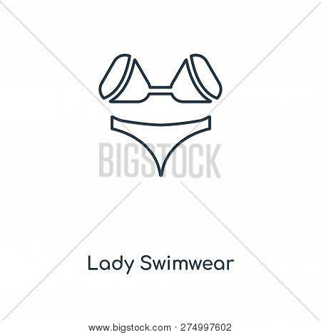 Lady Swimwear Icon In Trendy Design Style. Lady Swimwear Icon Isolated On White Background. Lady Swi
