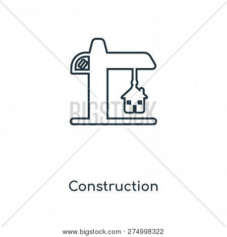 Construction Icon In Trendy Design Style. Construction Icon Isolated On White Background. Constructi