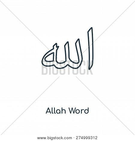 Allah Word Icon In Trendy Design Style. Allah Word Icon Isolated On White Background. Allah Word Vec